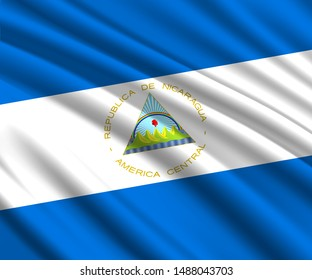 Background with 3d waving flag of Nicaragua