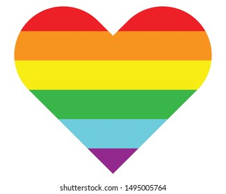 Background of 6 LGBT transgender rainbow colors in heart shape. Isolated on white background. Vector Illustration.