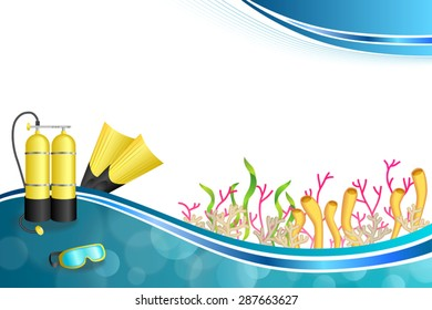 Background abstract blue diving sport yellow aqualung flippers mask illustration vector