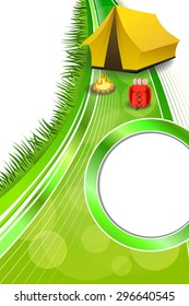 Background abstract green camping tourism yellow tent red backpack bonfire frame vertical ribbon illustration vector