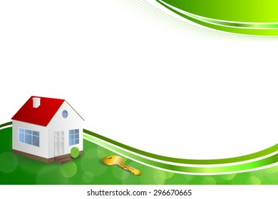 Background abstract green gold house key frame illustration ribbon vector