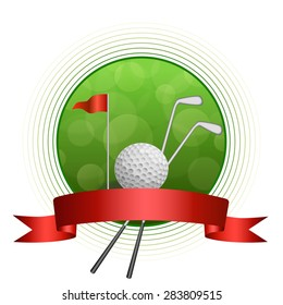 Background abstract green golf sport white ball club circle frame red flag ribbon illustration vector