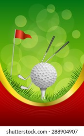 Background abstract green golf sport white ball red flag club frame vertical gold ribbon illustration vector