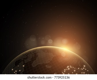 Background with an abstract planet in space. World map. Yellow glow. Vector illustration