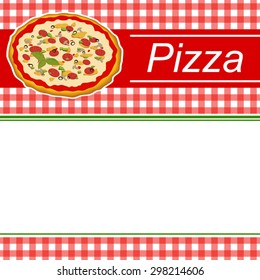 Background abstract red menu pizza green stripes frame illustration vector