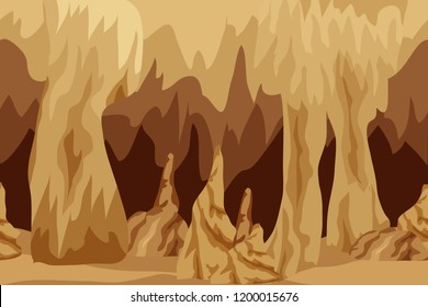 Background for adventure fantasy game asset. Underground mysterious cave landscape, city of dark elves or gnomes, mysterious cave realm. Vector illustration