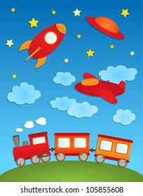 Background with aircrafts and train. Vector paper stickers