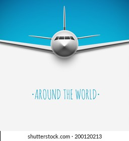 Background with airplane, around the world, eps 10