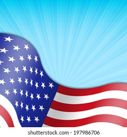 Background with american flag. EPS10 vector