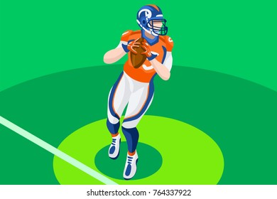 Background of american football vector poster. 3D flat american football player. Isometric people cartoon for sport illustration.
