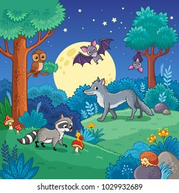 Background with Animals in the night forest. Vector illustration with wolf, raccoon, bat in children's cartoon style.