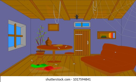 Background for animation, unmade room