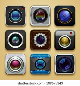background for the app - camera icon set