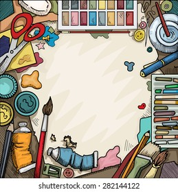 Background, Ariel view of arts and crafts table with various objects surrounding a blank piece of paper, vector illustration