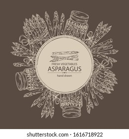 Background with asparagus. Vector hand drawn illustration.