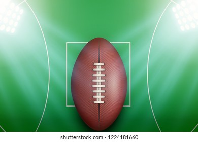 Background of Australian football stadium with ball in the spotlight. AFL field Poster. Editable Vector Illustration.
