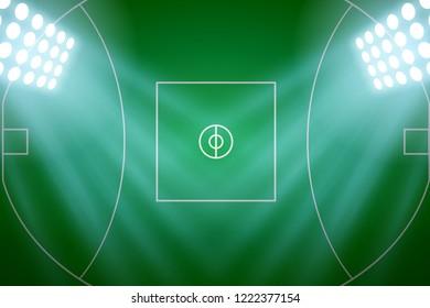 Background of Australian football stadium in the spotlight. AFL field Poster. Editable Vector Illustration.