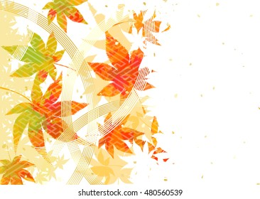 Background of autumn leaves and a Japanese style decoration