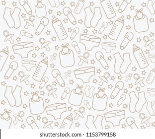 Background with baby gear patterns