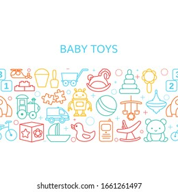 Background with baby toy line icons. Vector illustration.