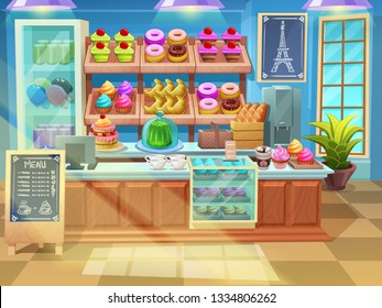 Background bakery shop interior. Cute sweets shop showcase in cartoon style with cupcakes, pie, cakes, donuts.