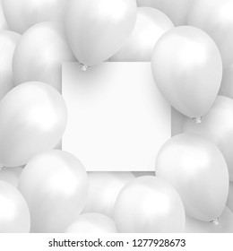 Background balloons. Template Banner with a clean sheet of paper. Realistic celebration design baloon.