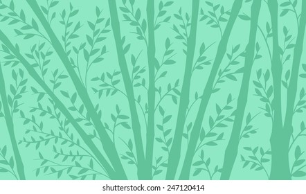 Background of a bamboo plantation with tall straight stems and dainty leaves in shades of blue, vector illustration