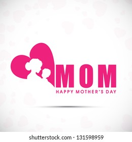 Background, banner or flyer with text Mom for Happy Mothers Day celebration.
