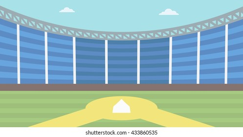 Background of baseball stadium. Baseball field vector flat design illustration. Baseball diamond. Sport concept. Horizontla layout.