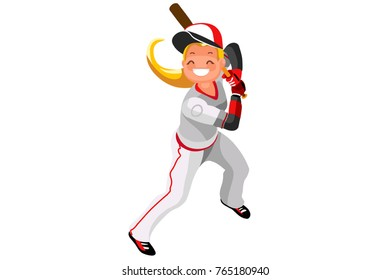 Background of baseball with vector mascotte. Sport poster with baseball player. 3d flat isometric people cartoon illustration.
