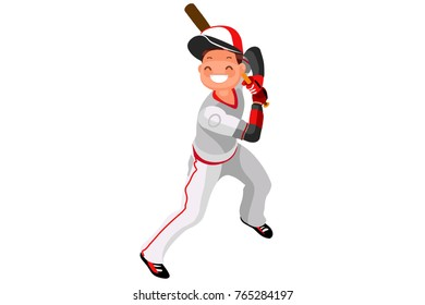 Background of baseball with vector mascotte. Sport poster with mlb player. 3d flat isometric people cartoon illustration.