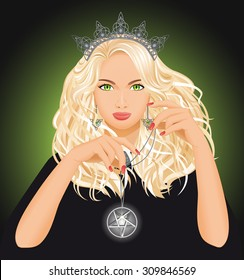Background with beautiful witch who holds pentagram in hand. Fantasy and halloween concept. Vector illustration.
