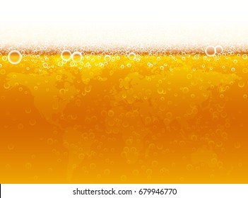Background of beer with foam, bubbles and world map. Vector illustration for international beer day.