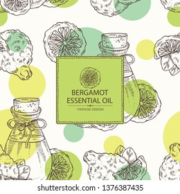 Background with bergamot and bottle of bergamot essential oil. Cosmetic, perfumery and medical plant. Vector hand drawn