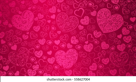 Background of big and small hearts with swirls in pink colors