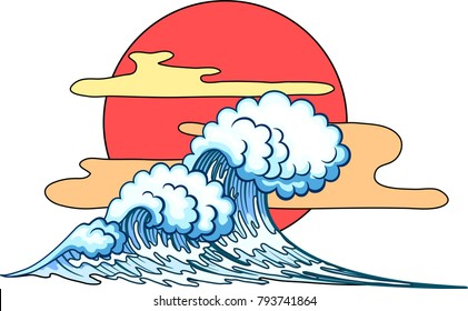 Background with Big Waves in Japanese Style
