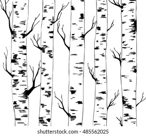 background of birches. hand drawn. vector.