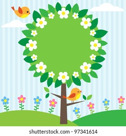 Background with birds, flowers and blooming tree with place for your text