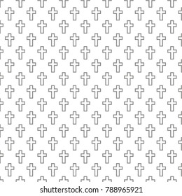 Background with black Christian Crosses from two lines. Texture isolated on white background. Pattern for  web site design or letter, banner etc. Vector illustration. Eps 10.