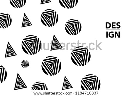 background black circles triangles template card stock vector