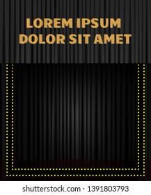 Background with black curtain. Design for presentation, concert, show. Vector illustration