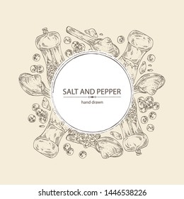 Background with black pepper and sea salt. Mill with pepper and salt shaker. Vector hand drawn illustration.