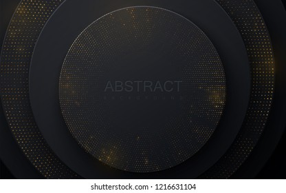 Background with black radial shapes. Abstract layered papercut decoration textured with golden paillettes pattern. 3d backdrop with circle shape layers. Vector illustration. Minimalist cover template