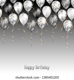 Background with black and white balloons as top border. Shiny glossy realistic ballon with glitter and gold ribbon, vector decoration, perfect for party banner or invitation card