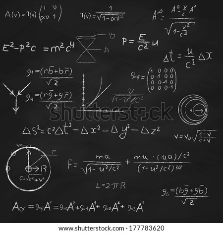 Background with blackboard, with relativity and string theory equations, formulas and hand drawings.