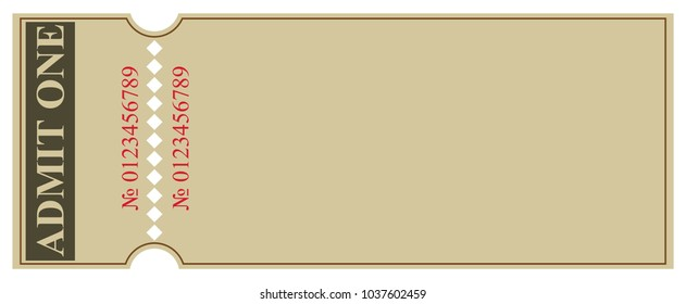 Background blank for ticket design for one person with a tear-off coupon