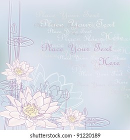Background with Blooming Water Lilies (Vector)