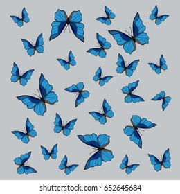 Background with blue butterflies