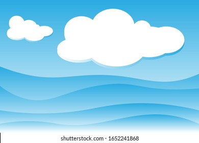 Background blue cloud and sea. Summer vacation. Vector illustration for copy paste. Art abstract for presentations background graphics design