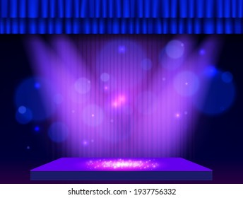Background with blue curtain, podium and spotlights. Design for presentation, concert, show. Vector illustration